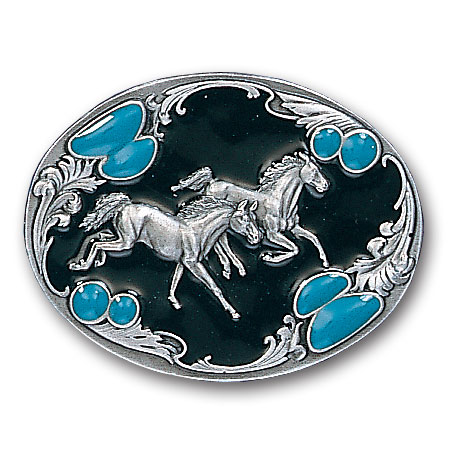 Belt Buckle -  Horses with Turquoise Stones - This finely sculpted and hand enameled  horses belt buckle contains exceptional 3D detailing. Siskiyou's unique buckle designs often become collector's items and are unequaled with the best craftsmanship.