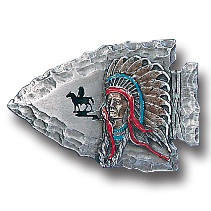 Belt Buckle - Indian Chief on Arrowhead - This finely sculpted and hand enameled  Indian Chief on Arrowhead belt buckle contains exceptional 3D detailing. Siskiyou's unique buckle designs often become collector's items and are unequaled with the best craftsmanship.