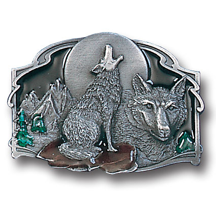 Belt Buckle - Howling Wolf - This finely sculpted and hand enameled  Howling Wolf belt buckle contains exceptional 3D detailing. Siskiyou's unique buckle designs often become collector's items and are unequaled with the best craftsmanship.