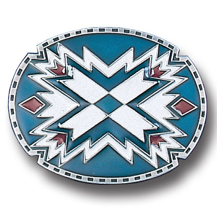 Belt Buckle - Southwestern Oval Blue - This finely sculpted and hand enameled  Southwestern belt buckle contains exceptional 3D detailing. Siskiyou's unique buckle designs often become collector's items and are unequaled with the best craftsmanship.