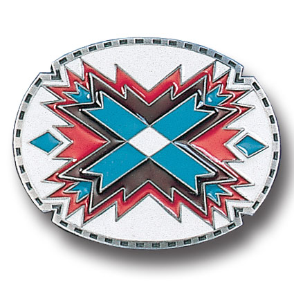 Belt Buckle - Southwestern Oval White  - This finely sculpted and hand enameled  Southwestern belt buckle contains exceptional 3D detailing. Siskiyou's unique buckle designs often become collector's items and are unequaled with the best craftsmanship.