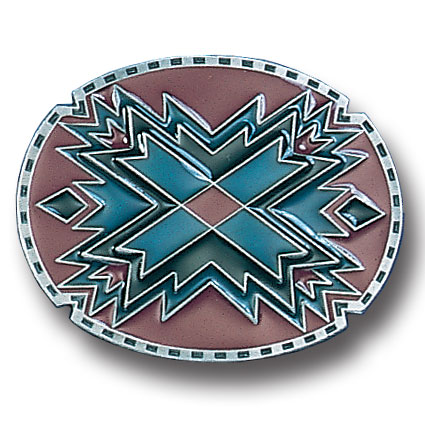 Belt Buckle - Southwestern Oval Red  - This finely sculpted and hand enameled  Southwestern belt buckle contains exceptional 3D detailing. Siskiyou's unique buckle designs often become collector's items and are unequaled with the best craftsmanship.