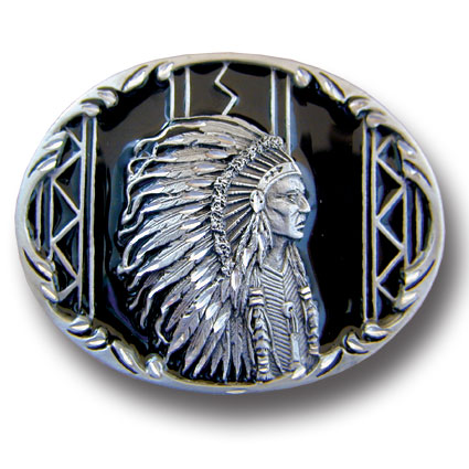 Belt Buckle - Indian Chief (Diamond Cut) - This finely sculpted belt buckle contains exceptional 3D detailing and diamond cut accents. Siskiyou's unique buckle designs often become collector's items and are unequaled with the best craftsmanship.