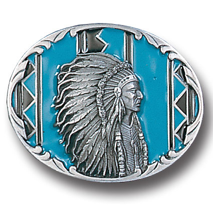 Belt Buckle - Indian Chief with Turquoise  - This finely sculpted and hand enameled belt buckle contains exceptional 3D detailing. Siskiyou's unique buckle designs often become collector's items and are unequaled with the best craftsmanship.