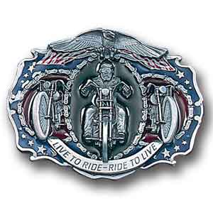 Belt Buckle -Live to Ride (Large Buckle) - This finely sculpted and hand enameled belt buckle contains exceptional 3D detailing. Siskiyou's unique buckle designs often become collector's items and are unequaled with the best craftsmanship.