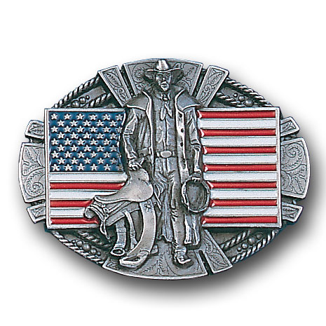 Belt Buckle - American Cowboy and Flag  - This finely sculpted and hand enameled belt buckle contains exceptional 3D detailing. Siskiyou's unique buckle designs often become collector's items and are unequaled with the best craftsmanship.