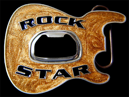 Rock Star Belt Buckle - Metallic Gold - Party like a rock star sporting this 3D enameled belt buckle with a built-in bottle opener at its center.  Made in the USA.