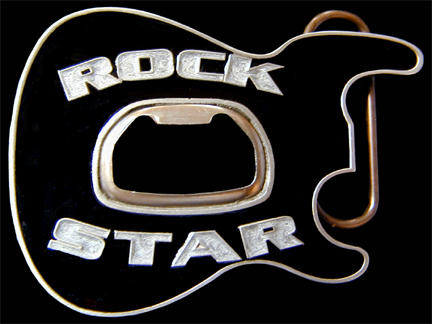 Rock Star Belt Buckle - Black  - Party like a rock star sporting this 3D enameled belt buckle with a built-in bottle opener at its center.  Made in the USA.