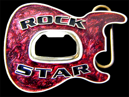 Rock Star Belt Buckle - Metallic Burgundy - Party like a rock star sporting this 3D enameled belt buckle with a built-in bottle opener at its center.  Made in the USA.