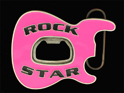 Rock Star Belt Buckle - Neon Pink - Party like a rock star sporting this 3D enameled belt buckle with a built-in bottle opener at its center.