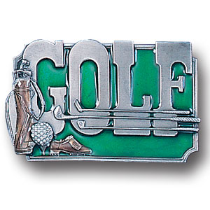 Golf Belt Buckle - Golf with Clubs Enameled Belt Buckle  - This finely sculpted and hand enameled golf belt buckle contains exceptional 3D detailing. Siskiyou's unique buckle designs often become collector's items and are unequaled with the best craftsmanship. This golf belt buckle is a great product for that golf expert or golf fan ! Check out all our other great NFL, NCAA, MLB, NHL product line up. Thank you for shopping Crazed Out Sports!!