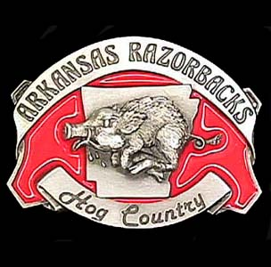 Belt Buckle - Arkansas - This finely sculpted and hand enameled belt buckle contains exceptional 3D detailing. Siskiyou's unique buckle designs often become collector's items and are unequaled with the best craftsmanship.