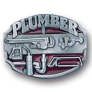 Belt Buckle - Plumber  - This finely sculpted and hand enameled belt buckle contains exceptional 3D detailing. Siskiyou's unique buckle designs often become collector's items and are unequaled with the best craftsmanship.