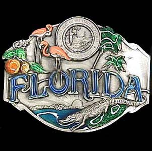 Belt Buckle - Florida Wildlife - This finely sculpted and hand enameled belt buckle contains exceptional 3D detailing. Siskiyou's unique buckle designs often become collector's items and are unequaled with the best craftsmanship.