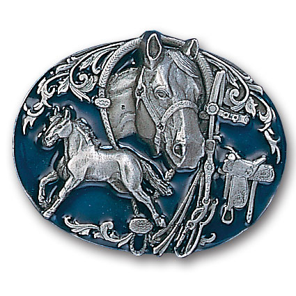 Belt Buckle - Horse Collage - This finely sculpted and hand enameled belt buckle contains exceptional 3D detailing. Siskiyou's unique buckle designs often become collector's items and are unequaled with the best craftsmanship.