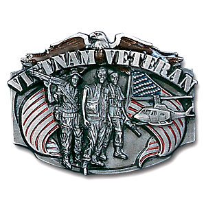 Military Pewter Buckle - Vietnam Veteran - This finely sculpted and hand enameled belt buckle contains exceptional 3D detailing. Siskiyou's unique buckle designs often become collector's items and are unequaled with the best craftsmanship.