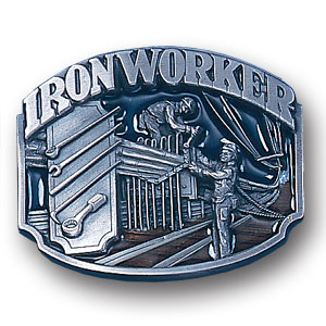 Belt Buckle - Iron Worker  - This finely sculpted and hand enameled belt buckle contains exceptional 3D detailing. Siskiyou's unique buckle designs often become collector's items and are unequaled with the best craftsmanship.