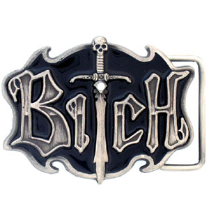 Bitch with Sword Belt Buckle - Sculpted and enameled buckle with rhinestone accent and striking detail.