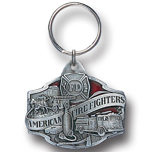 Key Ring - Fire Fighter - Scultped and hand enameled key ring featuring a Fire Fighter emblem.