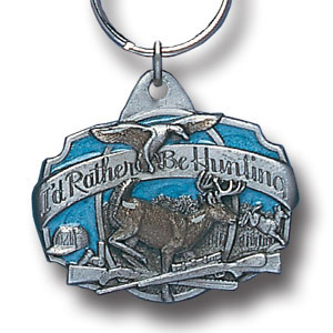 Key Ring - I'd Rather Be Hunting - Scultped and hand enameled key ring featuring a I'd Rather Be Hunting emblem.