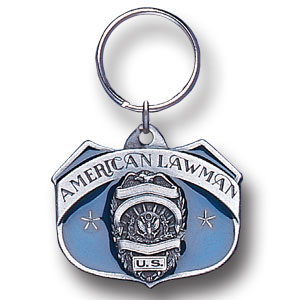 Key Ring - American Lawman - Scultped and hand enameled key ring featuring a American Lawman emblem.