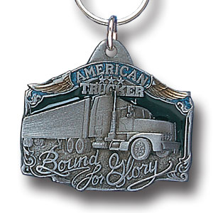 Key Ring - American Trucker - Scultped and hand enameled key ring featuring a American Trucker emblem.