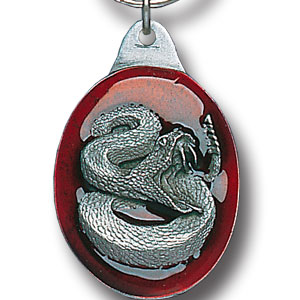 Key Ring - Rattlesnake - Scultped and hand enameled key ring featuring a Rattlesnake emblem.