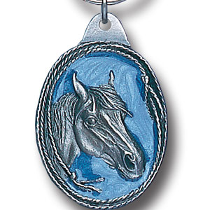 Key Ring - Horse Head - Scultped and hand enameled key ring featuring a Horse Head emblem.