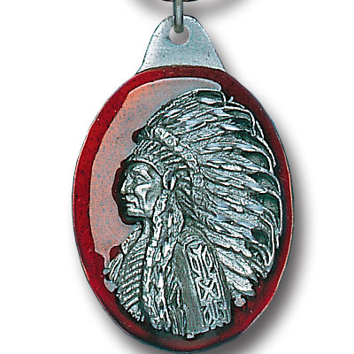 Key Ring - Indian Chief - Scultped and hand enameled key ring featuring a Indian Chief emblem.
