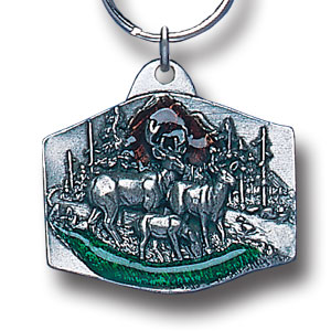 Key Ring - Deer Family - Scultped and hand enameled key ring featuring a Deer Family emblem.