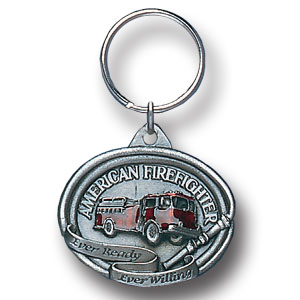 Key Ring - American Fire Fighter - Scultped and hand enameled key ring featuring a American Fire Fighter emblem.