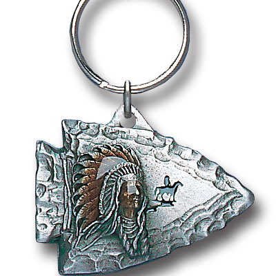 Key Ring - Indian Chief on Arrowhead - Scultped and hand enameled key ring featuring a Indian Chief on Arrowhead emblem.