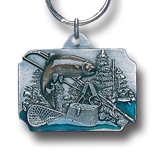 Key Ring - Fishing - Scultped and hand enameled fishing key ring featuring a Fishing emblem.