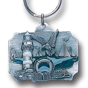 Key Ring - Coastal Scene - Scultped and hand enameled key ring featuring a Coastal Scene emblem.
