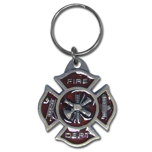 Key Ring - Fire Dept. Maltese Cross - Scultped and hand enameled key ring featuring a Fire Dept. Maltese Cross emblem.