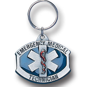 Key Ring  - EMT - Scultped and hand enameled key ring featuring a EMT emblem.