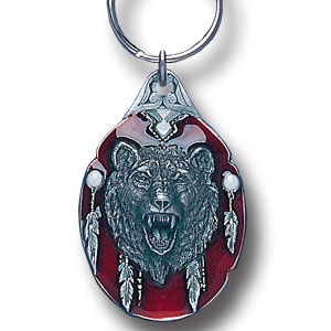 Key Ring - Grizzly Head - Scultped and hand enameled key ring featuring a Grizzly Head emblem.