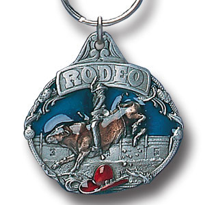 Key Ring - Rodeo - Scultped and hand enameled key ring featuring a Rodeo emblem.