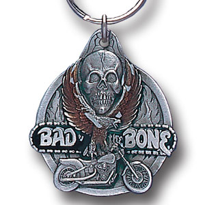 Key Ring - Bad To The Bone II - Scultped and hand enameled key ring featuring a Bad To The Bone II emblem.