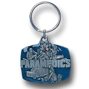 Key Ring - Paramedic - Scultped and hand enameled key ring featuring a Paramedic emblem.