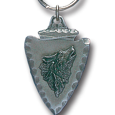 Key Ring - Wolf On Arrowhead - Scultped and hand enameled key ring featuring a Wolf On Arrowhead emblem.