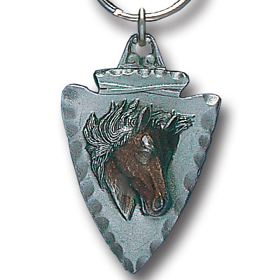 Key Ring - Horse On Arrowhead - Scultped and hand enameled key ring featuring a Horse On Arrowhead emblem.
