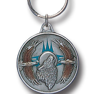 Key Ring - Wolf & Eagles - Scultped and hand enameled key ring featuring a Wolf & Eagles emblem.