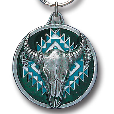 Key Ring - Southwestern Buffalo Skull - Scultped and hand enameled key ring featuring a Southwestern Buffalo Skull emblem.