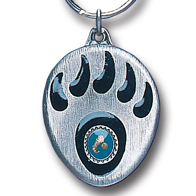 Key Ring - Grizzly Paw & Stone - Scultped and hand enameled key ring featuring a Grizzly Paw & Stone emblem.