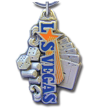 Key Ring - Las Vegas - Scultped and hand enameled key ring featuring a Las Vegas emblem.