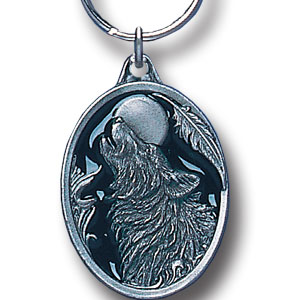 Key Ring - Howling Wolf - Scultped and hand enameled key ring featuring a Howling Wolf emblem.