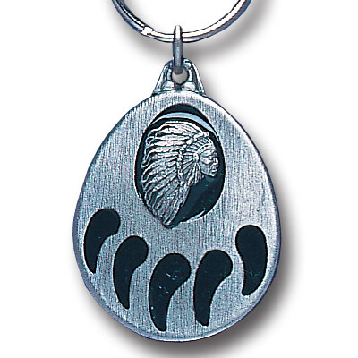 Key Ring - Bear Claw & Indian - Scultped and hand enameled key ring featuring a Bear Claw & Indian emblem.