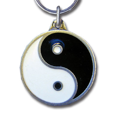 Key Ring - Ying Yang - Scultped and hand enameled key ring featuring a Ying Yang emblem.