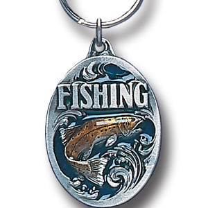 Key Ring - Fishing - Scultped and hand enameled key ring featuring a Fishing emblem.